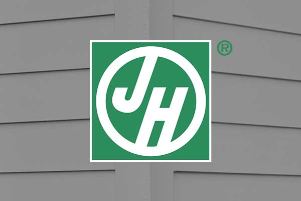 James Hardie siding logo on home siding background