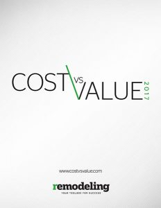 2017 Cost vs. Value Report cover with remodeling logo