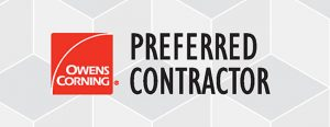 Red and black Owens Corning Preferred Contractor logo