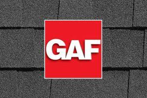 Red GAF logo on roofing shingles background