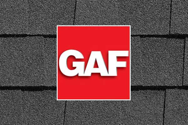 Red GAF logo on roofing shingles background