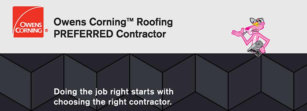 Banner with Owens Corning logo for Preferred Roofing Contractor