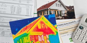 Heat map of suburban home with list of proven ways to maintain an energy efficient home