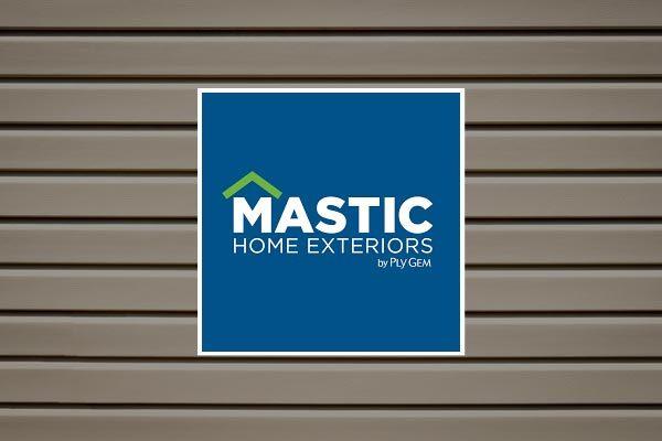 Mastic Siding logo on background with home siding