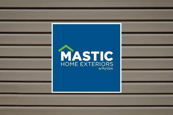 Mastic Siding logo on background with home siding