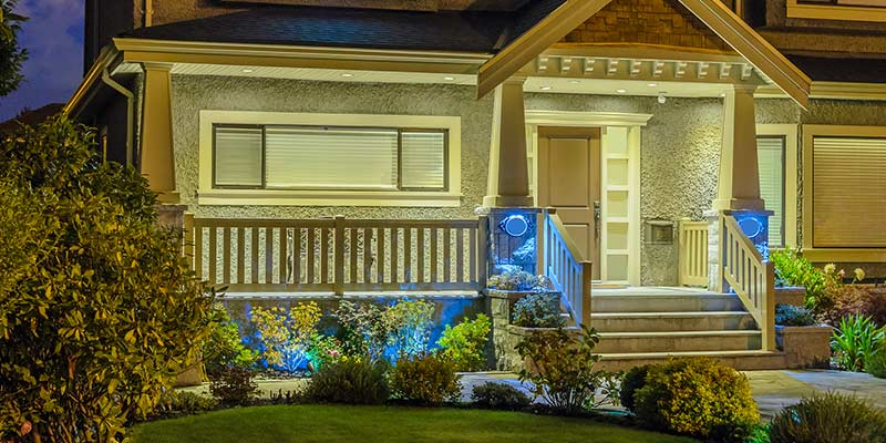 an elegant modernized home entryway with beautiful white and blue LED lights