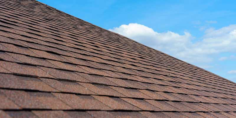 an upwards shot of a freshly laid shingled roof